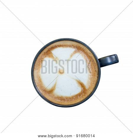 Coffee Cup With Flower Pattern On Coffee Foam Isolated On White
