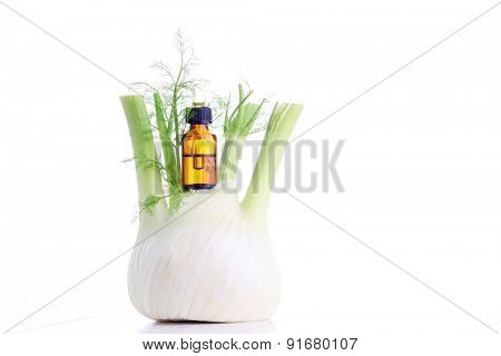 bottle of fennel essential oil - beauty treatment