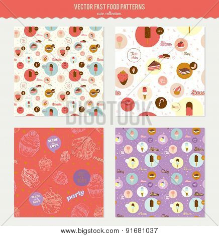 Vector food pattern with dessert icons in circles. Icons of cake