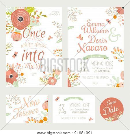 Vintage romantic floral Save the Date invitation in bright color
