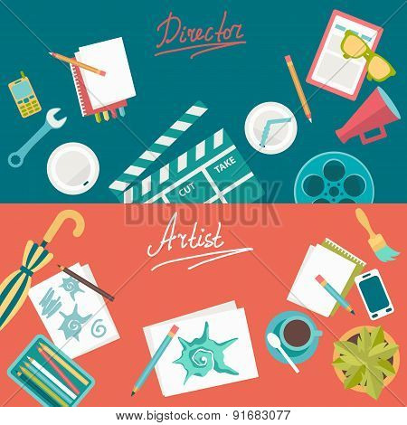 Set Of Flat Illustration Concepts For Design Development And Movie Making. Concepts For Web Banner