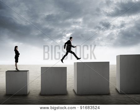 Man Jumping From Columns