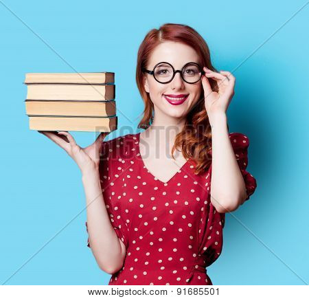Girl In Red Dress With Books