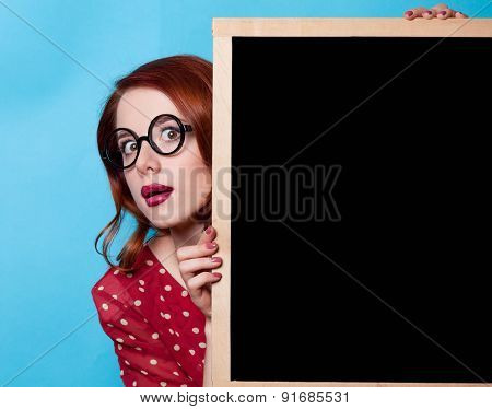Girl In Red Dress With Blackboard