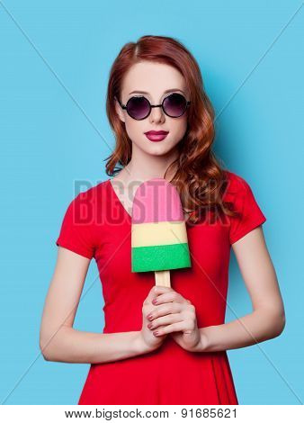 Girl In Red Dress With Toy Ice-cream