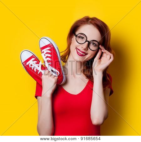 Girl In Red Dress With Gumshoes