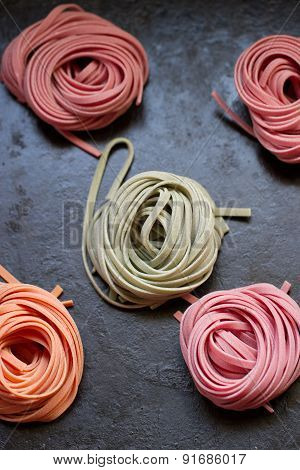 Colorful Pasta Tagliatelle On Table