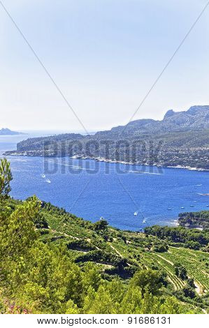 Mediterranean Sea Bay In Provence View From Mountains