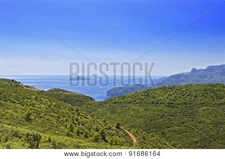 Mediterranean Sea View From Mountains In Provence