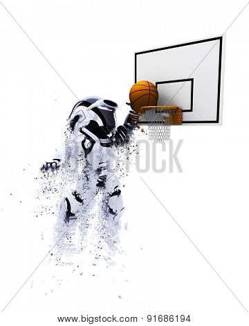 3D render of a robot playing basketball with special effect added