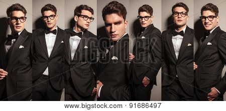 Collage of a young elegant business man wearing a tuxedo and glasses.