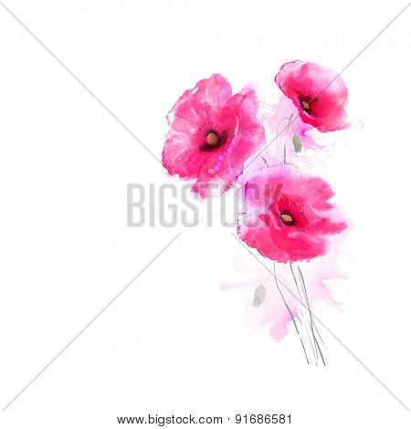 The tree flowering pink poppies. Greeting-card.