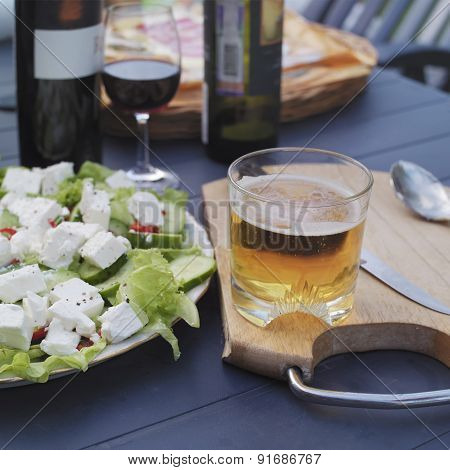 Beer Glass And Salad