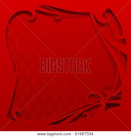 Square red frame. Christmas and New-Year's greeting card. Vector illustration