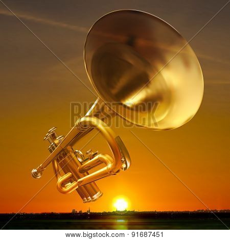Abstract Night Background With City And Trumpet
