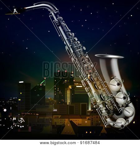 Abstract Night Background With City And Saxophone