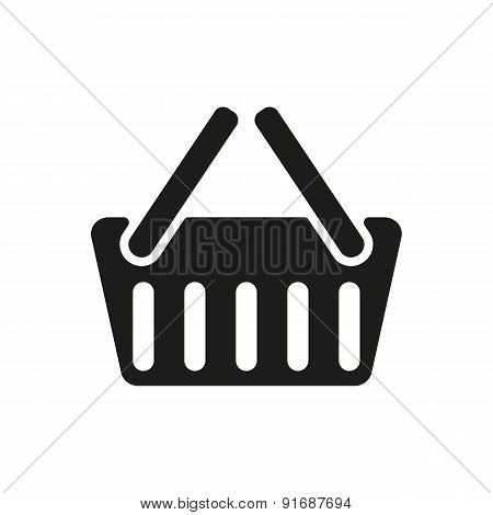 The Basket Shoping Icon. Shop Basket Symbol. Flat