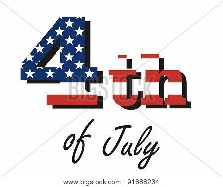 vector inscription - fourth of July, painted in the colors of the American flag