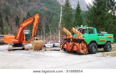 Excavator And Snow Removal Vehicle