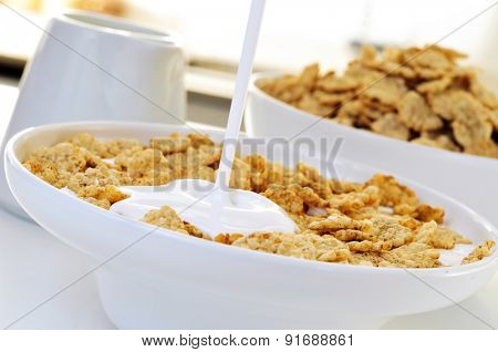 closeup of a bowl with yogurt and oatmeal cereals for breakfast on the kitchen table