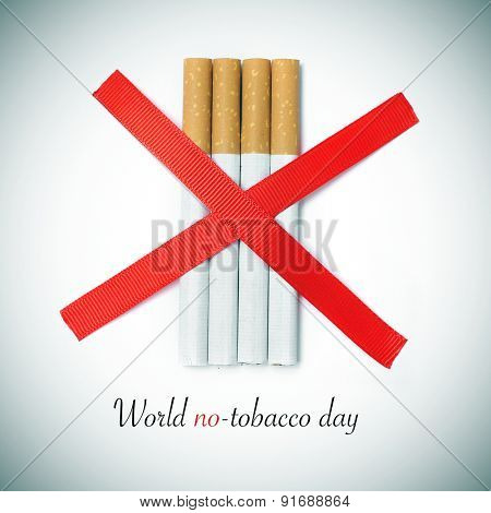 the text world no-tobacco day and some cigarettes crossed by two red slashes on a white background, with a slight vignette added