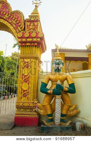 Statue At The Temple In Laos.