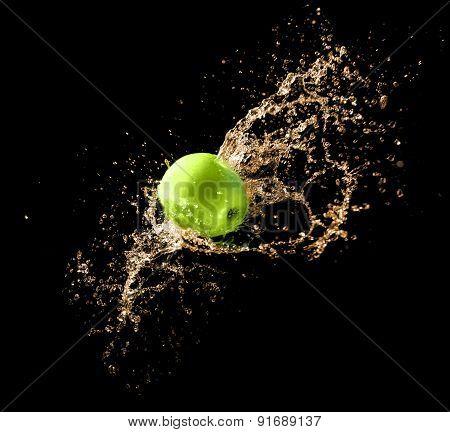 Green Apple With Water Splash, On Black