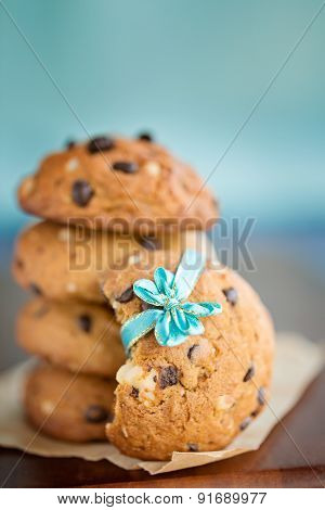 Stacked Chocolate Chip Cookies With Blue Ribbon