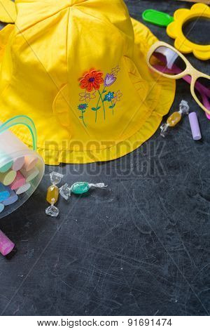 Children's summer yellow hat