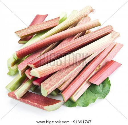 Rhubarb stalks on a white background.