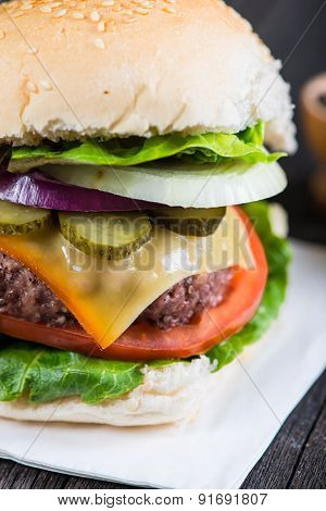 Closeup Pub Style Burger On Wooden Table