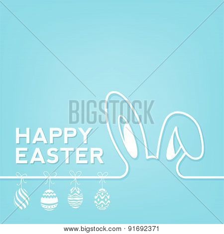 Creative Happy Easter Background With Rabbit And Eggs