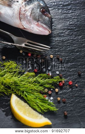Fresh Whole Sea Fish With Aromatic Herbs, Cooking Concept