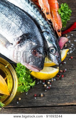 Food Background Of Fresh Fish With Herbs,cooking Concept