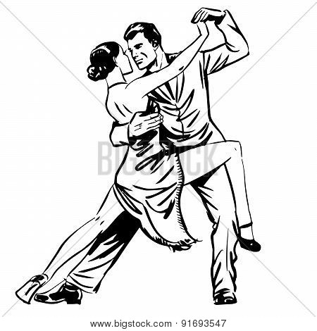 Man And Woman Dancing Couple Tango Retro Line Art