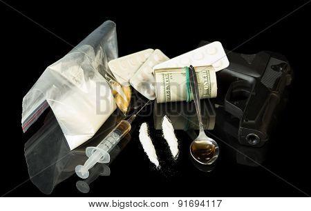 Money, gun and drugs
