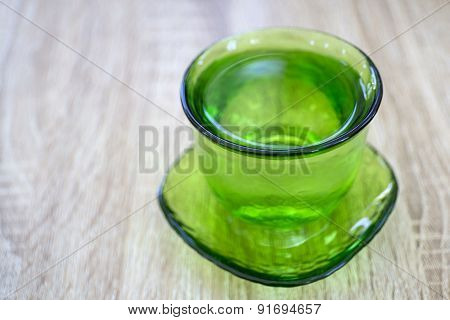 Vintage Green Glass With Water