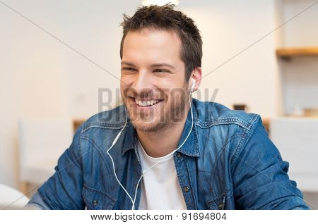 Closeup of smiling young businessman have an online conference