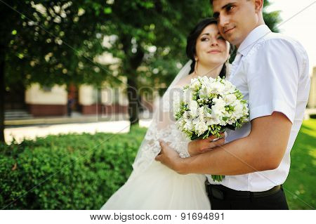 Wedding Couple Embrace Close Up