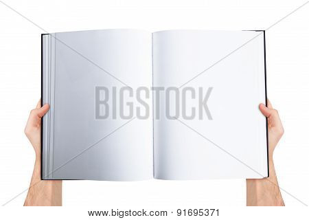 Hand Holding Blank Open Book