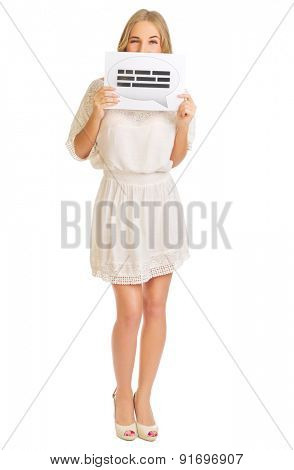 Girl with chat placard isolated
