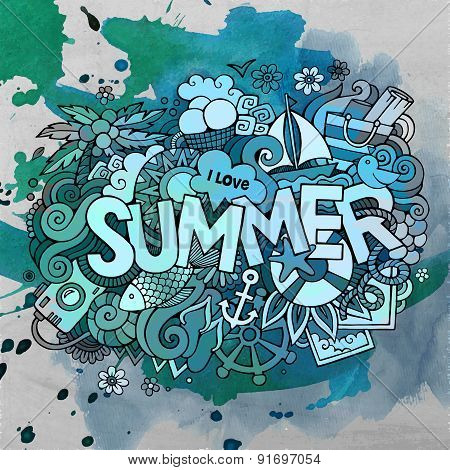 Summer watercolor hand lettering and doodles elements