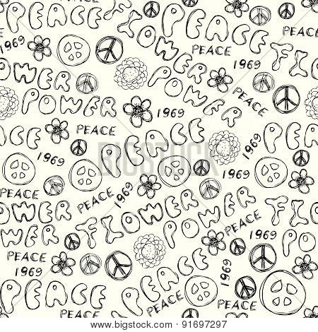 Doodles inscription Flower Power.