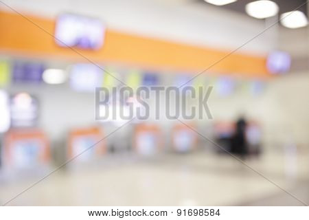 Check-in counters in airport - bokeh background