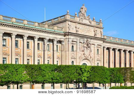 Parliament building (Riksdag) in Stockholm, Sweden