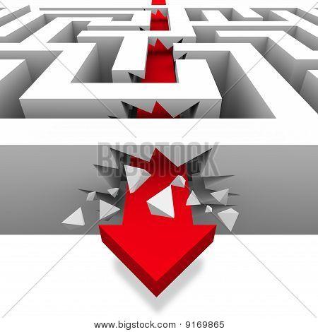 brechend durch das Labyrinth zu Freiheit