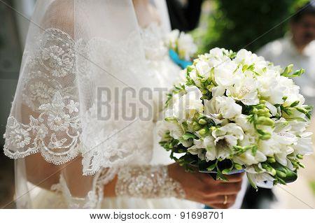 Bride Bouquet Of Various Flowers.