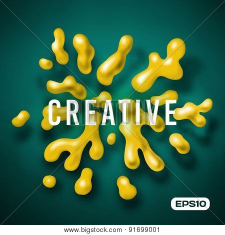 Abstract vector color splash background paint fluid colorful ink splatters. Isolated creative ink.
