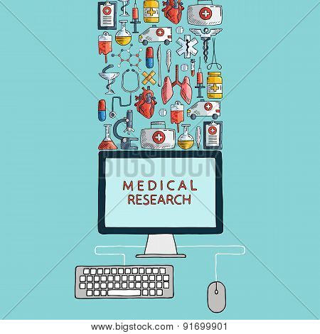 Medical research. Hand drawn health care and medicine icons with desktop computer.