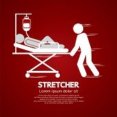 image of stretcher  - Medical Workers Moving Patient On Stretcher Vector Illustration - JPG
